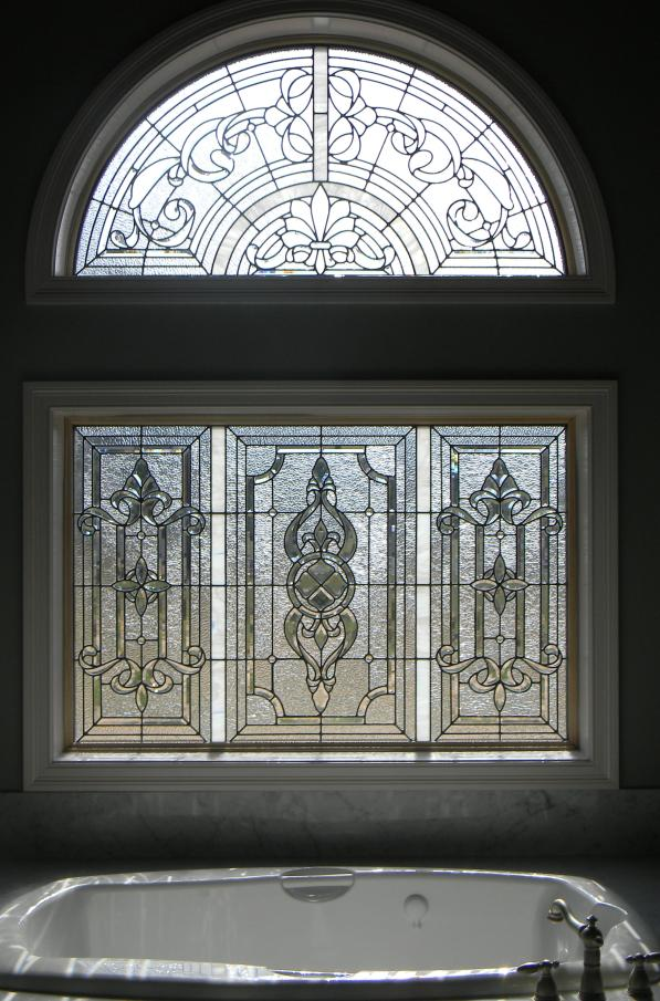 clear textured and beveled glass