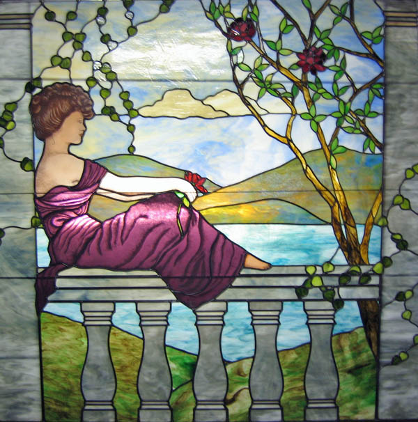 Hand painted features in this stained glass window measuring 65&quot; X 65&quot;