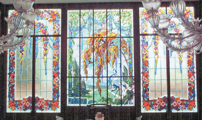 ORIGINAL JAQUES GRUBER WINDOWS  INSTALLED IN PRIVATE RESIDENCE. ART GLASS REMOVED CLEANED, RELACED BROKEN PCS, WATERPROOFED, REINSTALLED WITH PROTECTIVE GLAZING