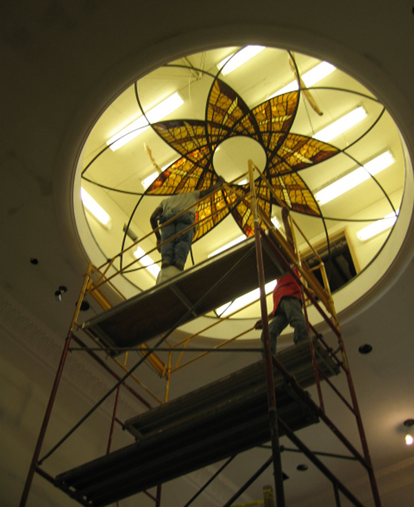 INSTALLATION PROCESS OF 12' DIAMETER STAINED GLASS DOME, NOTE THE LAYOUT OF THE LIGHT FIXTURES TO GIVE THE BEST LIGHT