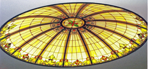 9' DIAMETER LEADED GLASS DOME IN OFFICE
