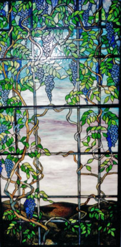 "Tiffany style copperfoiled stained glass window measuring 45"" x 92"""