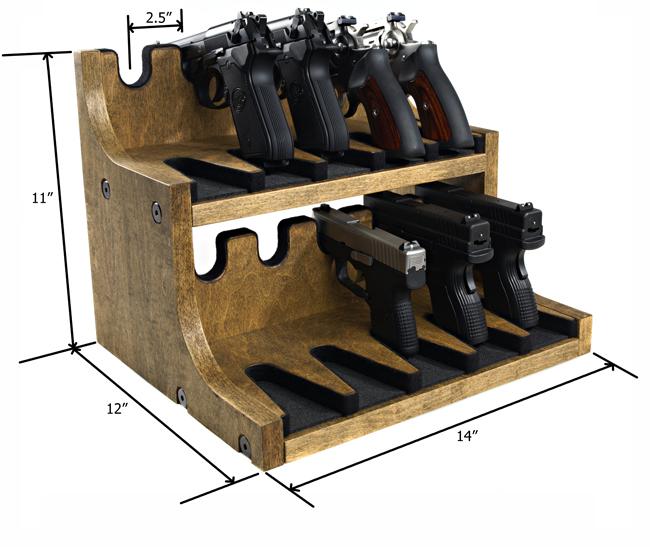 Quality Rotary Gun Racks, quality Pistol Racks - 10 Gun Pistol Rack