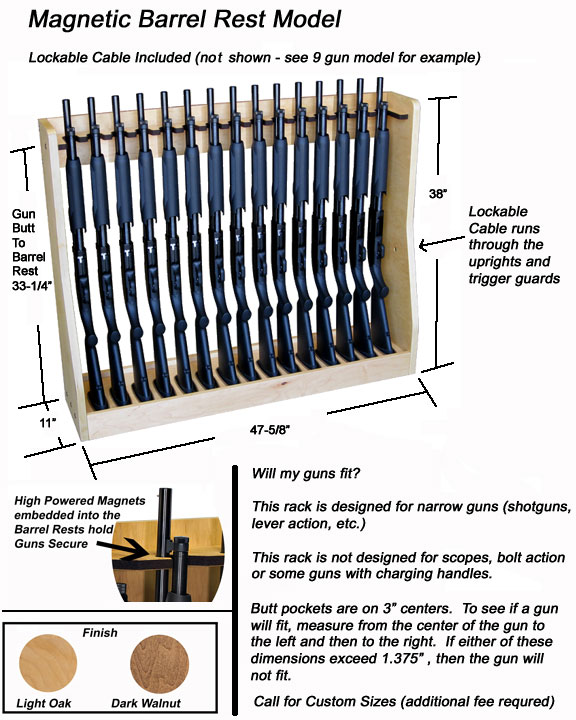 Magnetic Vertical Gun Rack-15 Gun