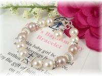 Baby Baptism Christening Bracelet Pink White Freshwater Pearl