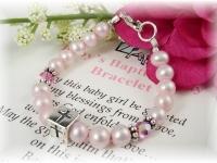 Baby Baptism Bracelet Pink Freshwater Pearl and Swarovski Crystal