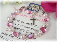 Baby Baptism Rosary Bracelet Pink Freshwater Pearl and Swarovski Crystal