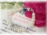 Baby Baptism Bracelet Freshwater Pearl and Swarovski Crystal