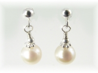 White Freshwater Pearl Earrings on sterling silver post