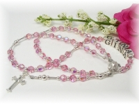 Swarovski Crystal Pink Personalized Baby Rosary