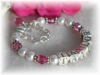 Swarovski Crystal Birthstone and Pearl Name Bracelet