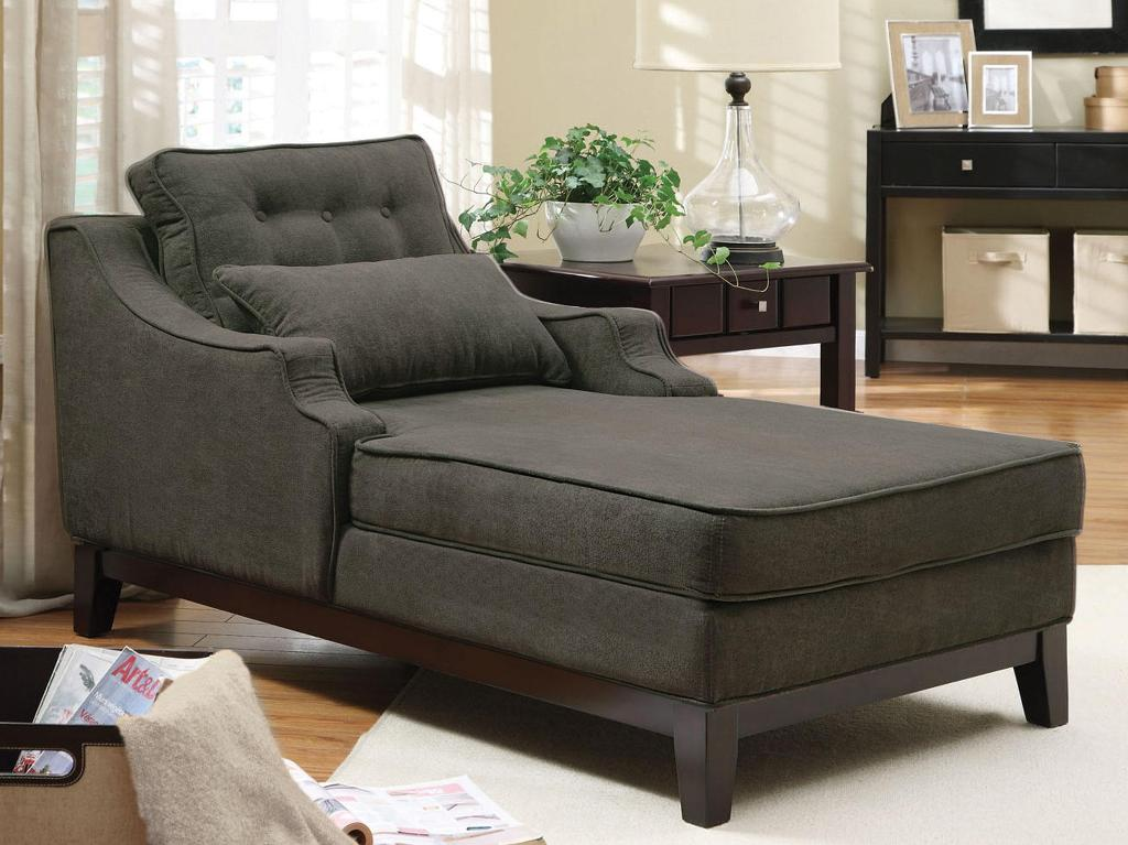Charcoal Velvet Chaise Lounge Chair