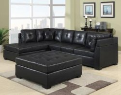 Black Leather Sectional Sofa with Chaise - Discount Online Furniture
