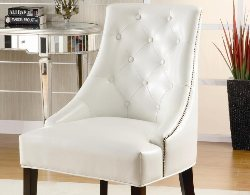 Tufted Accent Chair - White Leather Accent Chair - Accent Chairs on Sale - Armless Accent Chair - Online Furniture Store - Discount Online Furniture
