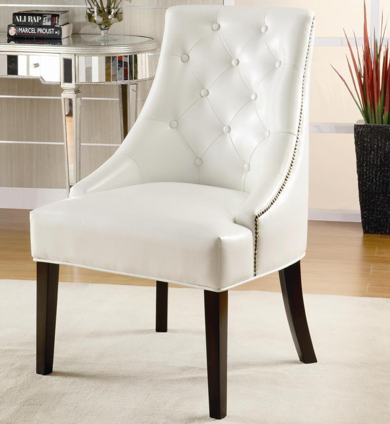 White leather tufted accent chair for Tufted leather dining room chairs