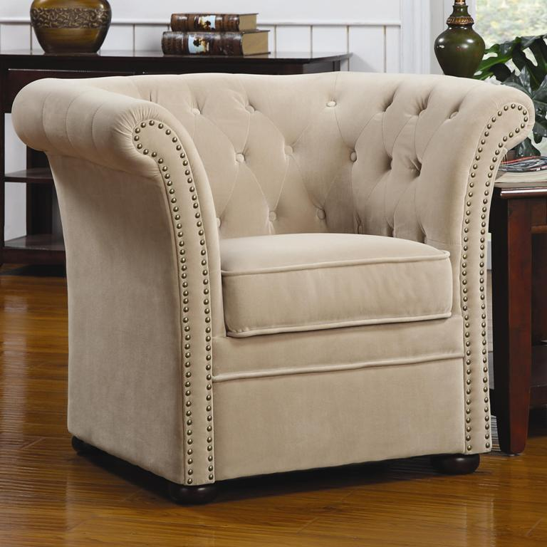beige high back accent chair