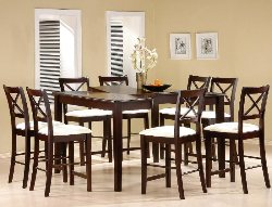 9 Piece Counter Height Dining Set - Affordable Counter Height Dining Room Tables - Cappuccino Dining Room Set - Discount Online Furniture
