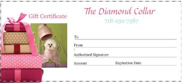 dog gift certificate